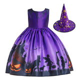 Halloween Girl Dress Pumpkin Castle Print Princess Dress Sleeveless Satin Print Child Dress