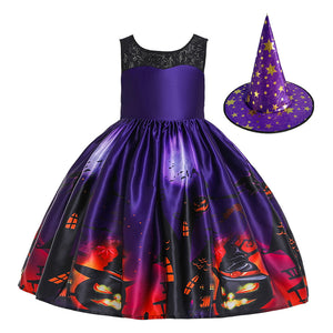 Children Dress Halloween Princess Lace Hole Dress Pumpkin Ghost Print Children's Dress with Hat