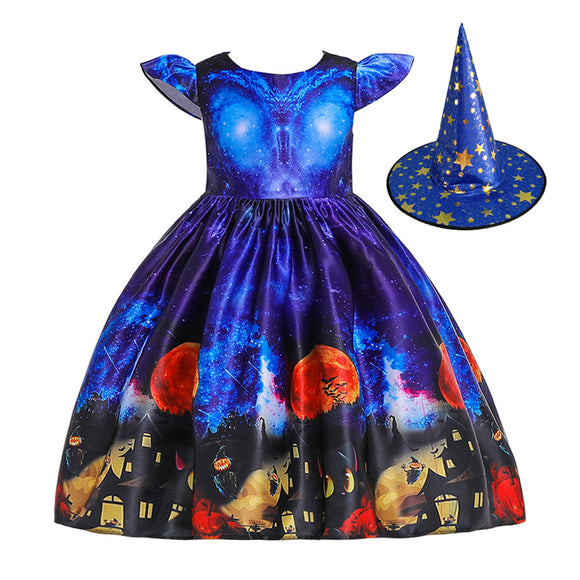 Children Dress Halloween Princess Dress Ghost Print Children's Dress with Hat