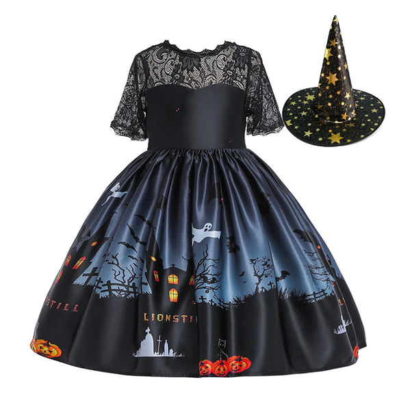 Halloween Princess Dress Lace Tube Top Dress Halloween Ghost Print Kids Dress Set with Hat