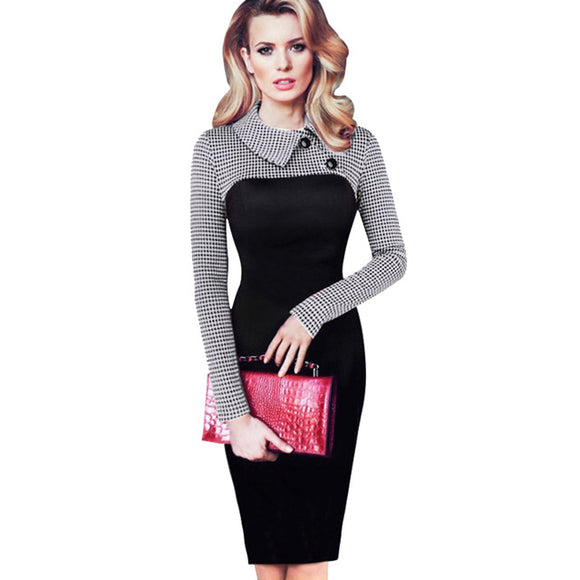 Vintage Long Sleeve Women Dress Patchwork Office Plaid Pattern Plus Size Bodycon Dresses