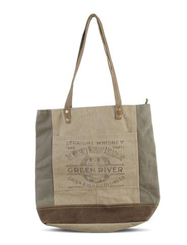 Tote Bag - Weathered Canvas Tote with Leather Handles