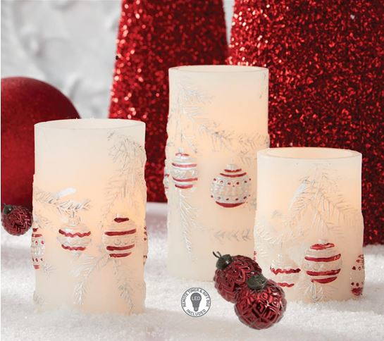 Set of 3 Glitter Ornament LED Wax Pillar Candle w/Timer and Remote