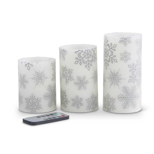 Set of 3 Silver Snowflake LED Wax Pillar Candle w/ Timer Remote