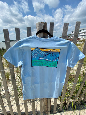 "Graphic Surf Lotus - ""T for a Cause"" - Wave Lt Blue"
