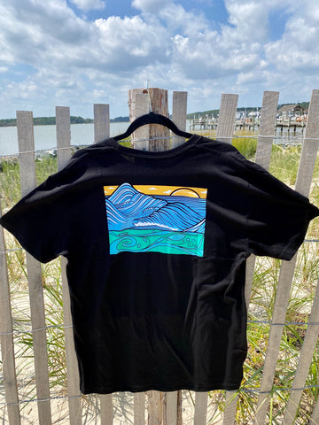 "Graphic Surf Lotus - ""T for a Cause"" - Wave Black"