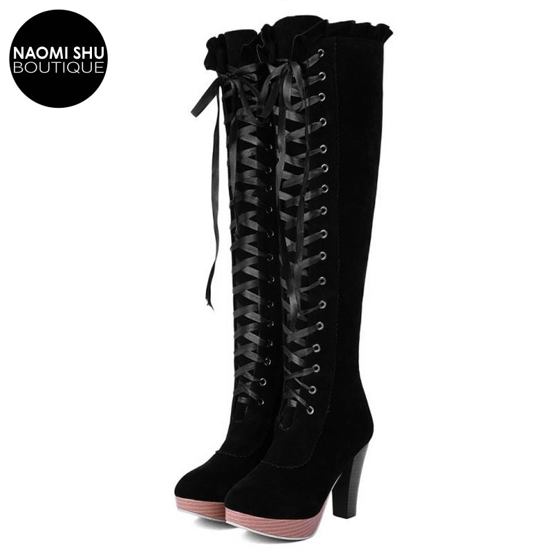 LOLLY Ruffle Banded Over Knee Heel Boot