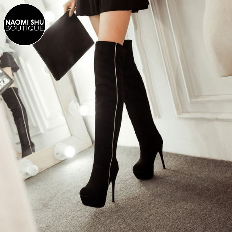 INTREPID Full Side Zipper Over Knee Heel Boot