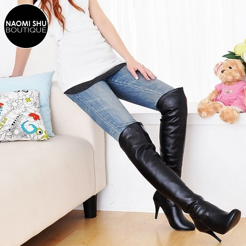 CHERIE Pointed Toe Knee High Boot