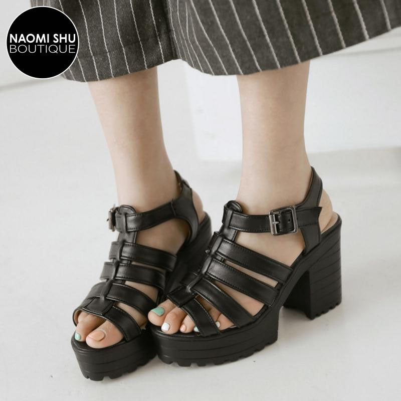 ENVOY Chunky Cut Out Platform Heel