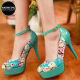 ZAHRA Dainty Floral Print Ankle Strap Heel