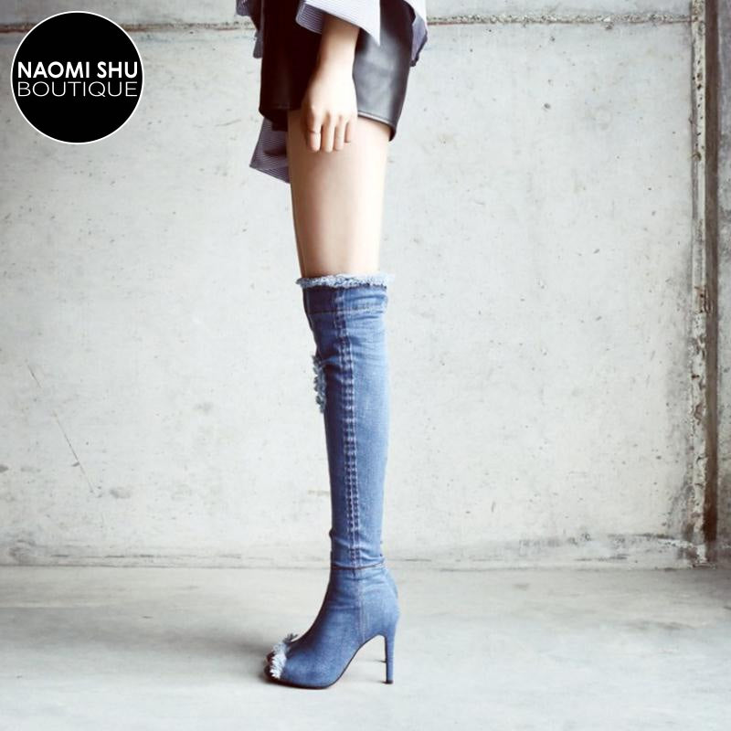LOCO Distressed Peep Toe Knee High Boot