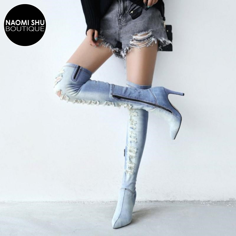 AZURE Distressed Denim Over Knee Heel Boot