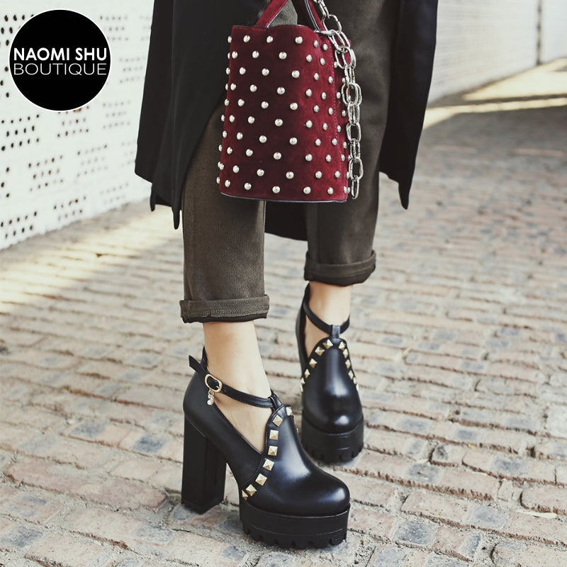 BOA Chunky Rivet Cut Out Platform Heel