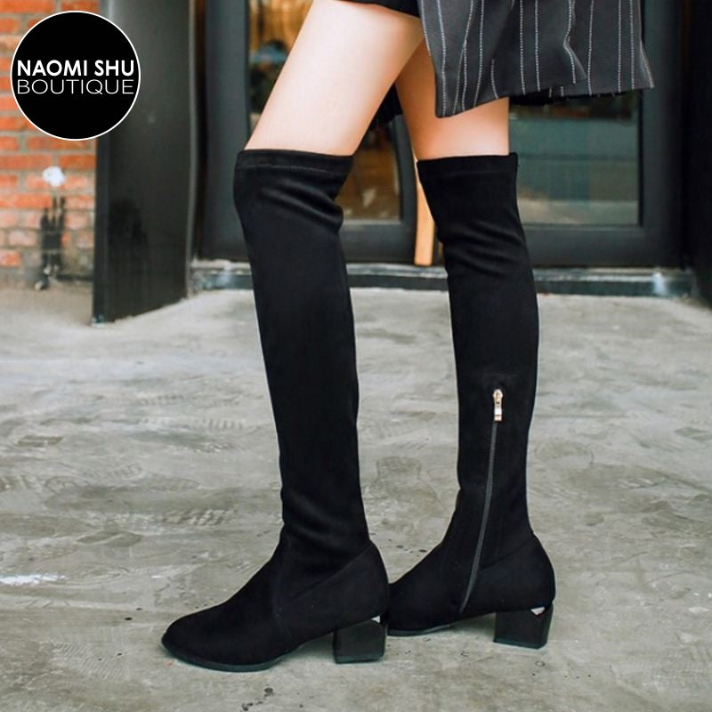 OENOMEL Side Zipper Knee High Boot