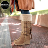 DANICA Plushed Tassel Wedge Bootie