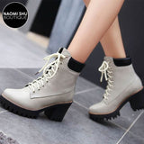 BAZICK Chunky Lace Up Heel Ankle Bootie