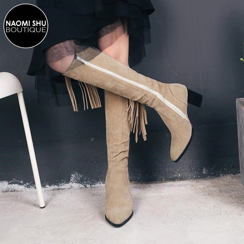 ESPOIR Waterfall Tassel Knee High Boot