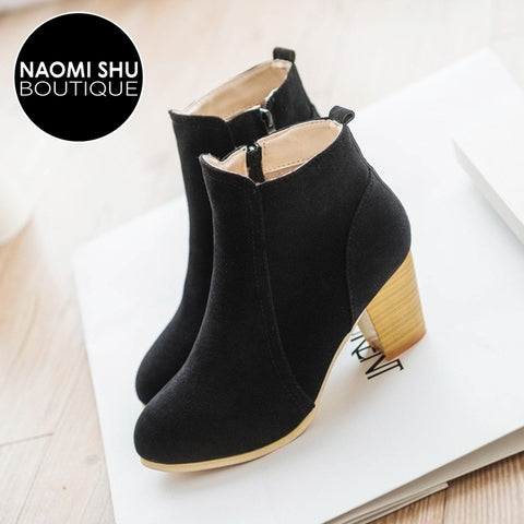 ELEVATE Chunky Lace Up PU Material Platform  Ankle  Boots