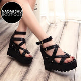 MEESHY Wedges Open Toe Sandals