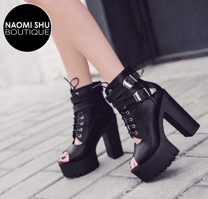 AMY STARDUST II  Boots High Heels Open Toe Platform Buckle