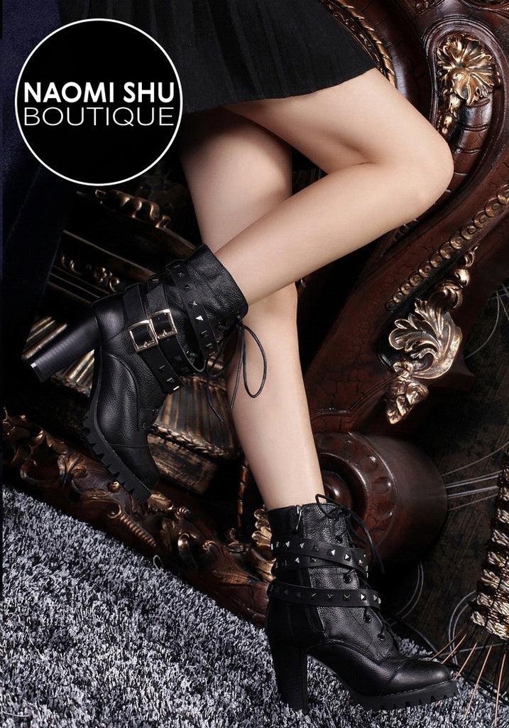 CORO Genuine Leather High Heel Boots