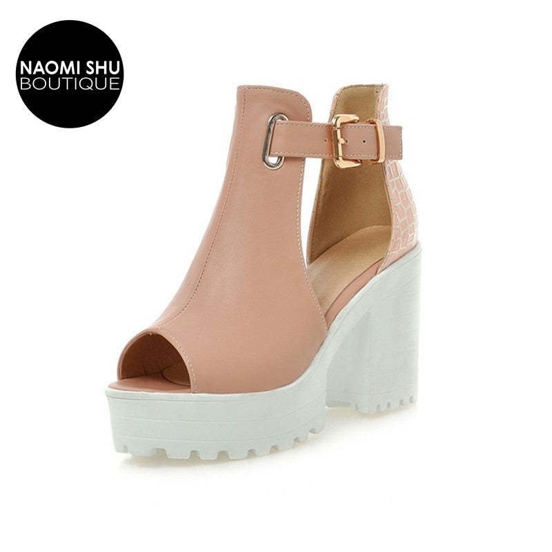 ELENA Chunky Block High Heels
