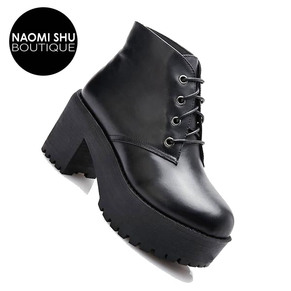 ELEVATE Chunky Lace Up Genuine Leather Platform  Ankle  Boots