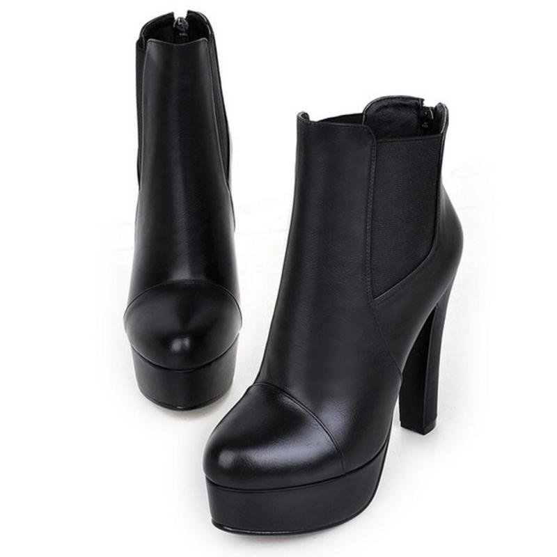 CHELSEE High Heels Boots Back Zipper