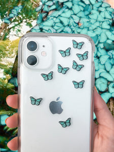 "Aqua 0.5"" Mini Butterfly Stickers"