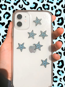 Blue Leopard Print Mini Star Stickers