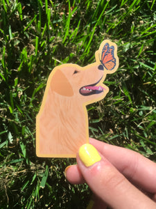 Dog & Butterfly Sticker