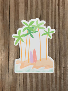 Palm Tree Beach Sticker