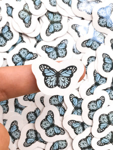 "1"" Light Blue Mini Butterfly Stickers"