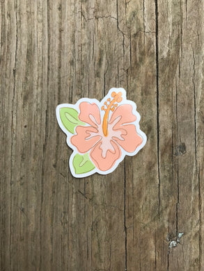 Peach Hibiscus Sticker