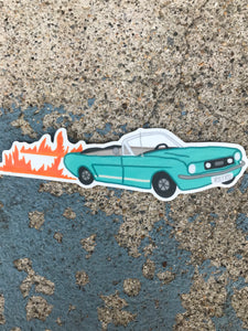 Blue Vintage Car With Flames Sticker