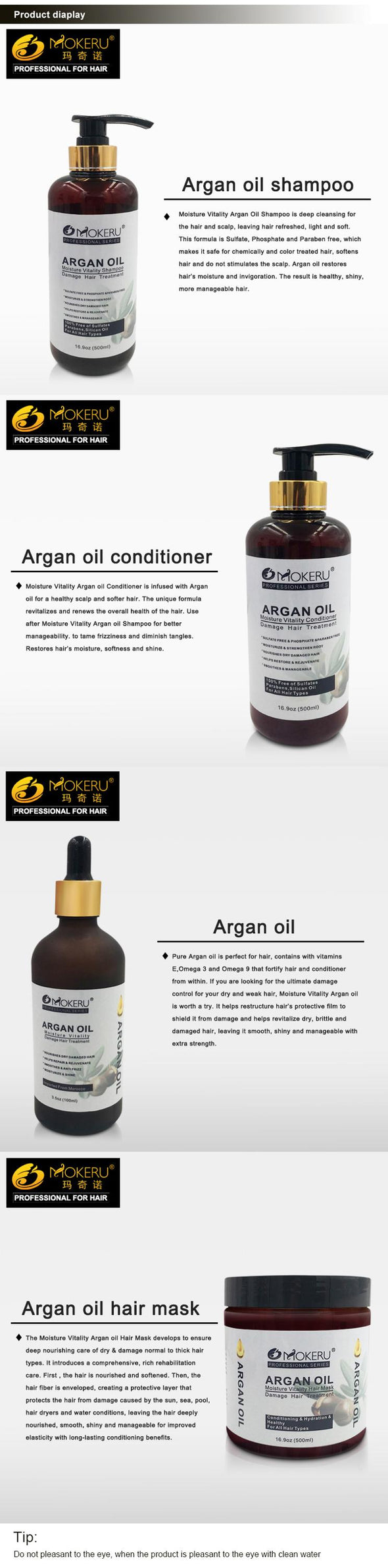 Argan Oil Shampoo And Conditioner 500ml*2/set - silver-beauty-products