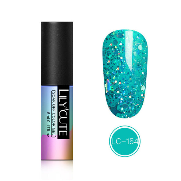 LILYCUTE Colorful Glitter Bling Holographic Sequins Gel NailPolish - silver-beauty-products