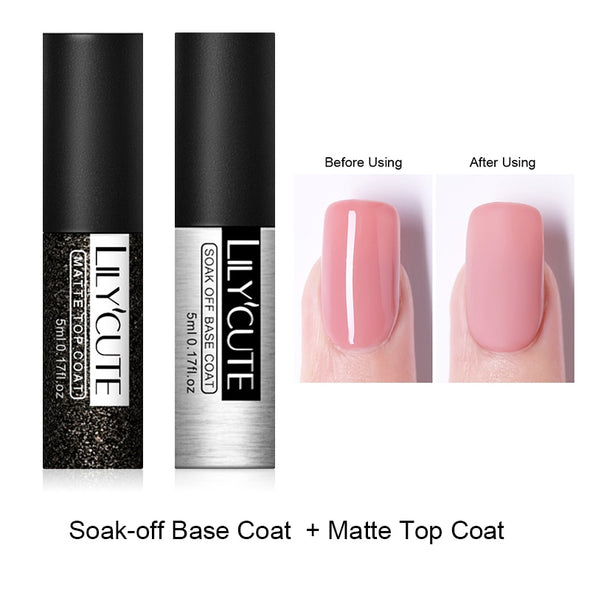 LILYCUTE Base and Top Coat UV Gel Nail Polish - silver-beauty-products