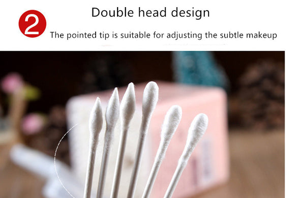 Natural Double Headed Pointed Cotton Swab 200/100pcs - silver-beauty-products
