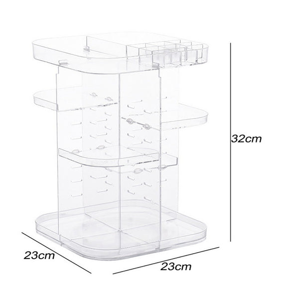 IVYSHION 360 Degrees Rotating Cosmetic Storage Rack & Organizer 1PC - silver-beauty-products