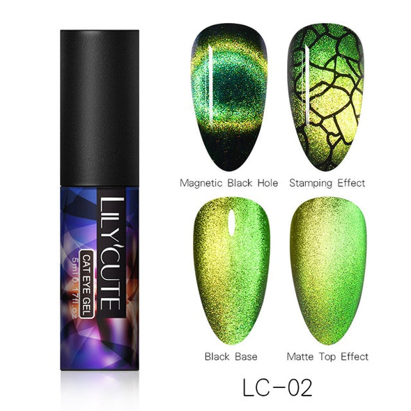 LILYCUTE Chameleon Cat Eye Gel Nail Polish - silver-beauty-products