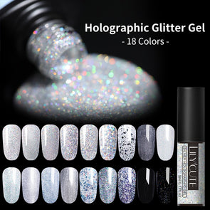 LILYCUTE Holographic Silver Glitter Gel Nail Polish