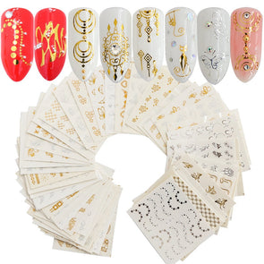 Nail Decoration 30pcs Gold Silver Stickers