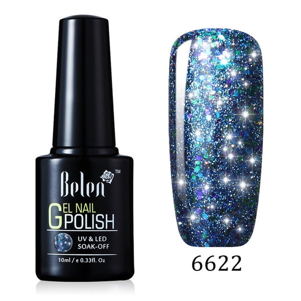 BELEN Starry Glitter Sequins Nail Gel Polish - silver-beauty-products
