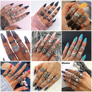 Women Multiple Finger Ring Sets
