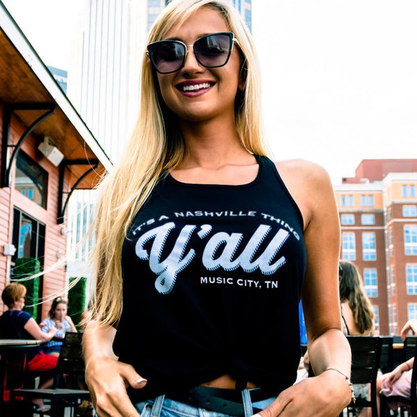 Y'all Logo Racerback Tank Top - Black