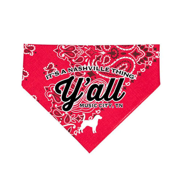 Y'all Logo Dog Bandana - Red