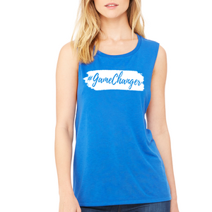 Fempire Flowy Scoop Muscle Tank - Blue