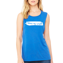 Load image into Gallery viewer, Fempire Flowy Scoop Muscle Tank - Blue